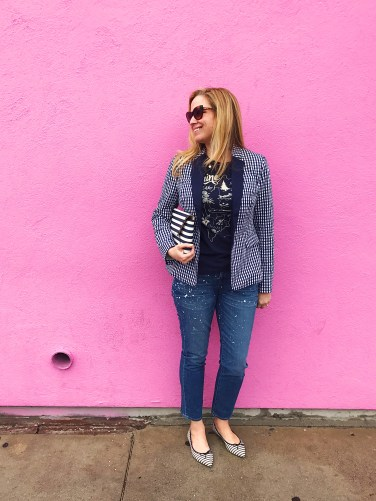 jcrew gingham paint splatter maine pink wall 2