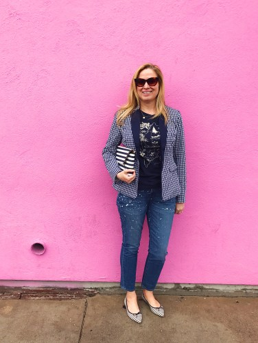 jcrew gingham paint splatter maine pink wall