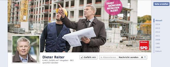 Facebook Seite von Spizenkandidat der SPD: Dieter Reiter