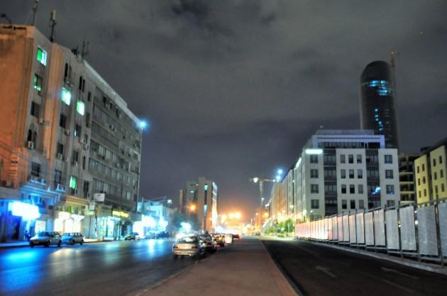 Night street at Amman modern city