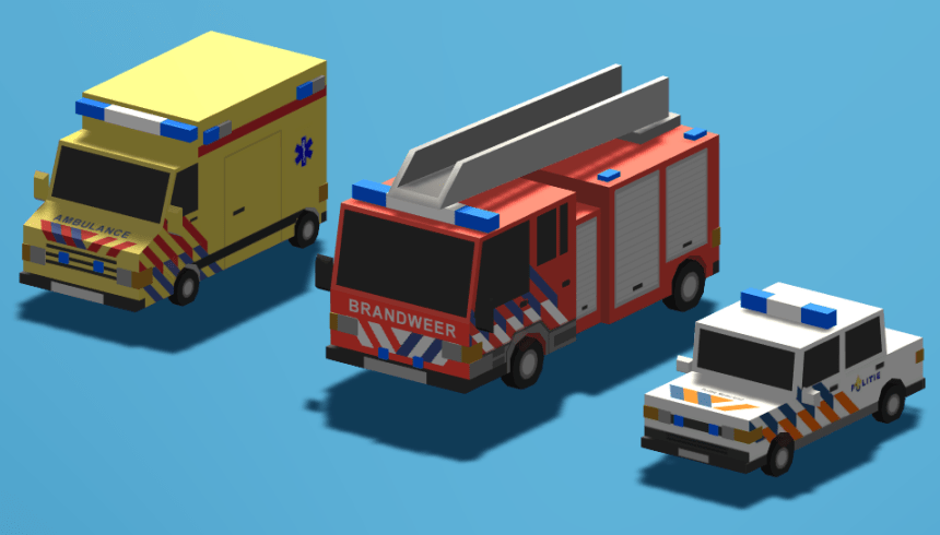 The three different Dutch emergency vehicles (yes the fire truck is the coolest!)