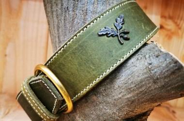 Lederhalsband handgefertigt, Eichenlaub von Jagdeinrichtung 24