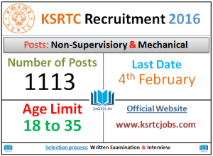 KSRTC Recruitment 2016
