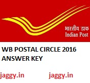 WB Postal Circle Answer key 2016