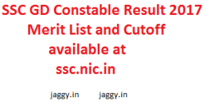 SSC GD Constable Result 2017