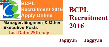 BCPL Recruitment 2016