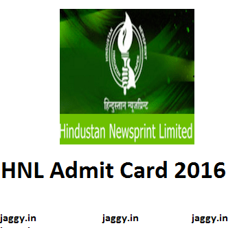 HNL Admit Card 2016