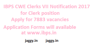 IBPS CWE Clerk Notification 2017