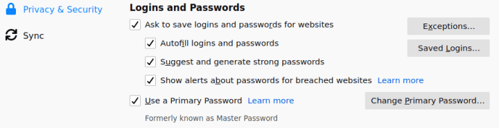 setting login and password firefox add primary password