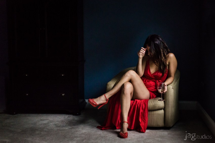 Sexy Red Dress Boudoir Photography with wine glass JAGstudios