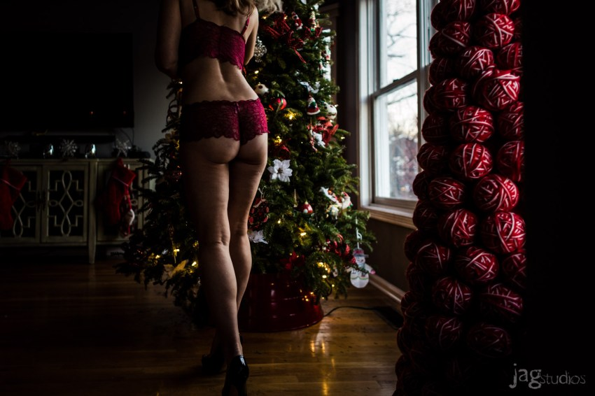 woman in sexy lingerie with holiday JAGstudios A Christmas Boudoir Photography Session