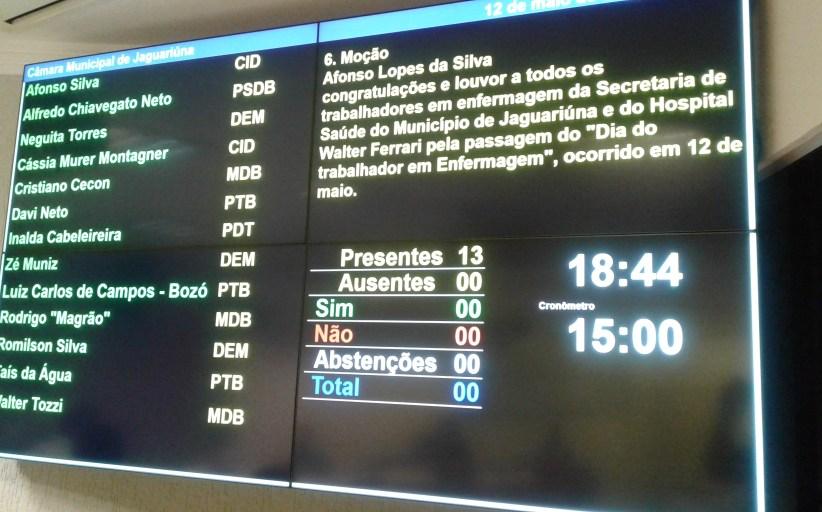 Três projetos estão na pauta da 8ª sessão ordinária da Câmara Municipal de Jaguariúna, nesta terça-feira (13)