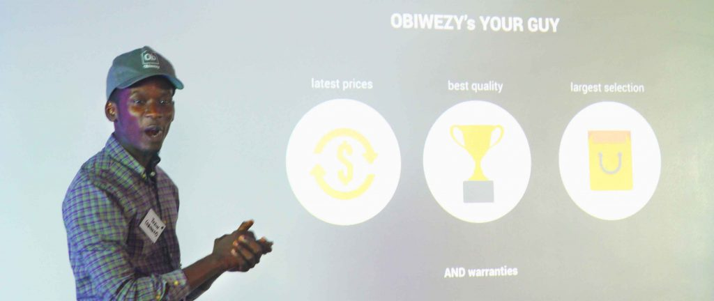 Oluwatosin Ajibade making a pitch at a startup event