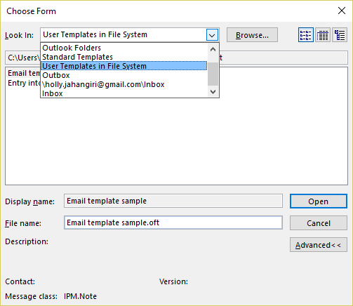 email templates in outlook