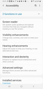 Android Accessibility Settings menu. Long press Interaction and dexterity to access more options.