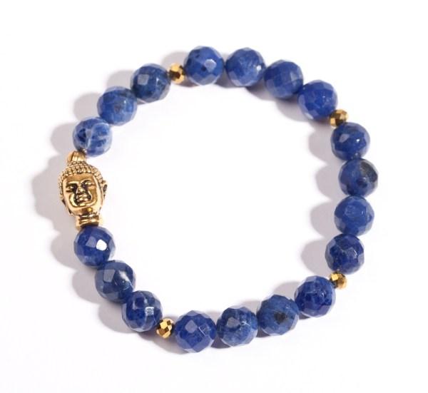 dunkelblaueSodalith Buddha Armband