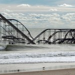 The remnants of a roller coaster sits in the surf three days after Hurricane Sandy came ashore in Seaside Heights