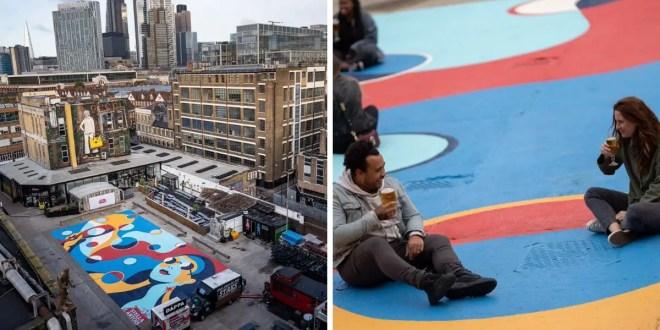 Une marque de bière favorise la distanciation sociale avec du street Art