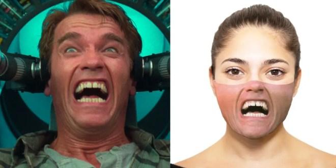 Un masque à l'effigie d'Arnold Schwarzenegger dans le film Total Recall