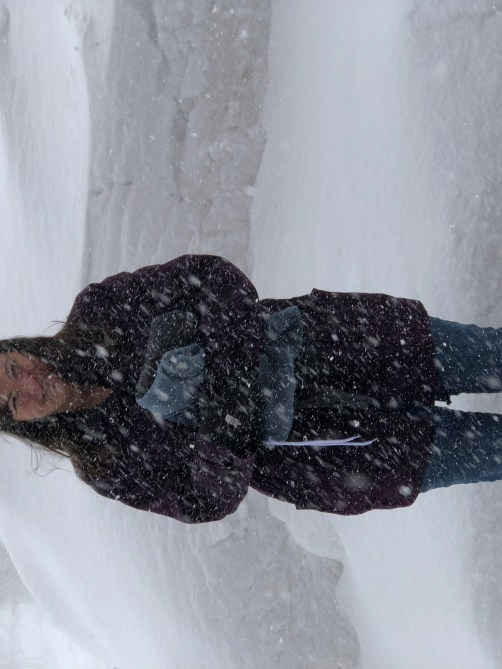 wife in snowstorm