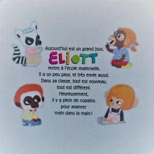 4eme de couverture du livre Eliott rentre à l'école