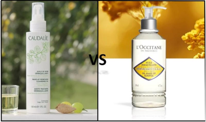 l'huile démaquillante Caudalie VS L'Occitane