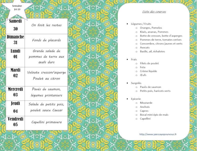 menus semaine 14-19