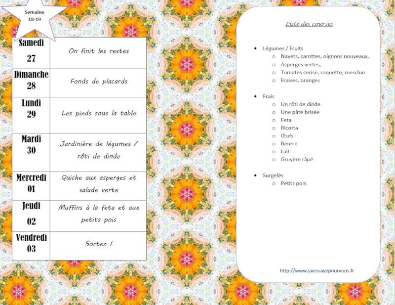 menus semaine 18-19