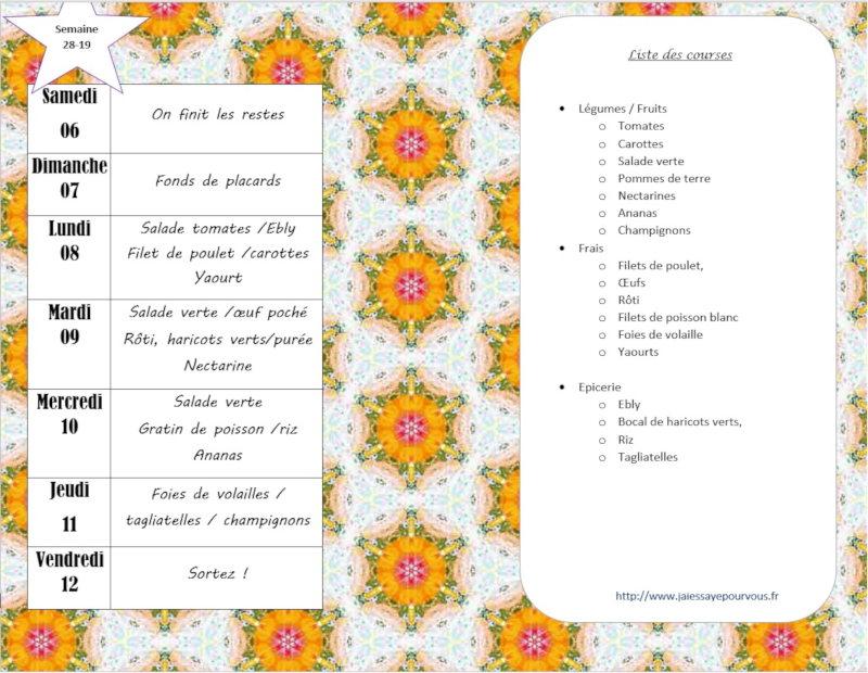 menus semaine 28 2019