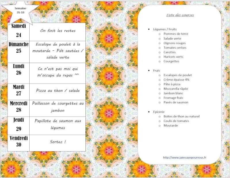 menus semaine 35 - 2019