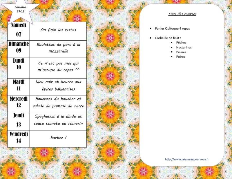 menus semaine 37 - 2019