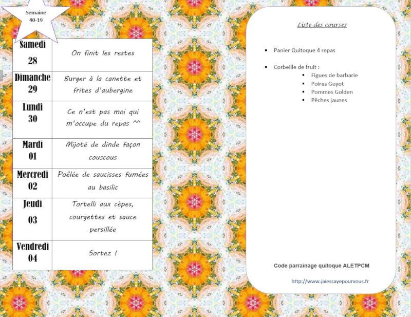 menus semaine 40 - 2019