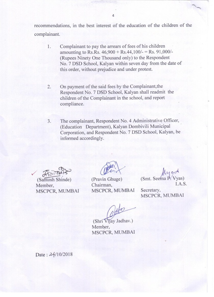 School refuses to obey Child Right Commission's order to readmit expelled children.