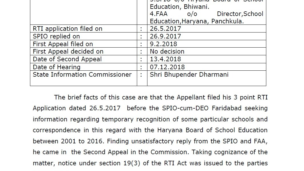 हरियाणा शिक्षण विभागास राज्य माहिती आयुक्तांकडून तक्रारदारास रु.४०००/- नुकसान भरपाई देण्याचे आदेश.