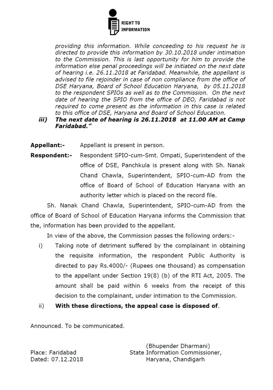Haryana Education Department Directed to Pay Rs.4000/- Compensation under RTI Act 2005