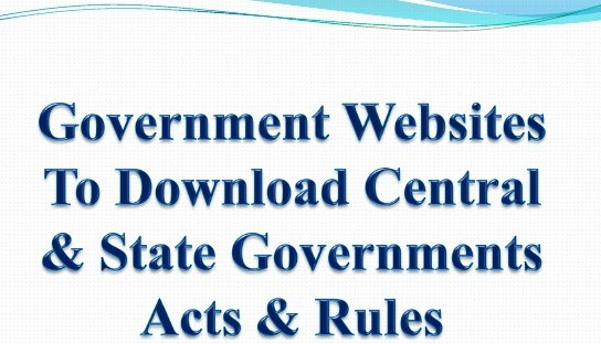 Websites to Download Central & State Governments Acts & Rules