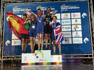 Podium championnat d'Europe d'aquathlon