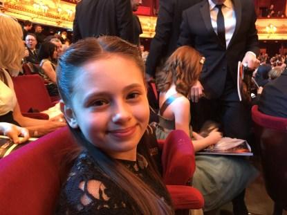 Jaime Adler sat in The Royal Opera House, before the Olivier Awards begin