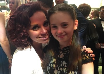Jaime Adler and Amy Thornton, Resident Choreographer at Matilda The Musical, pre-Olivier Awards party