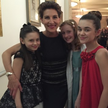 Jaime Adler, Izzy Pappas and Perdita Hibbing with the beautiful and funny Tamsin Greig, who stars in 'Women on the Verge'