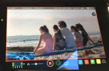 Pretty Outrageous The Movie 2016, the Girl Band on camera with our very cool Surf Instructor, Josh Margulies!