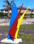 Volarun<br />Steel sculpture made by Jaime Angulo<br />2011<br />Painted<br />Height 8 ft