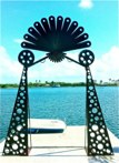 Gate to the water<br />Steel sculpture made by Jaime Angulo<br />2011<br />Painted<br />Height 12 ft