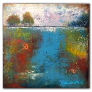 Abstract impressionism landscape oil painting with trees