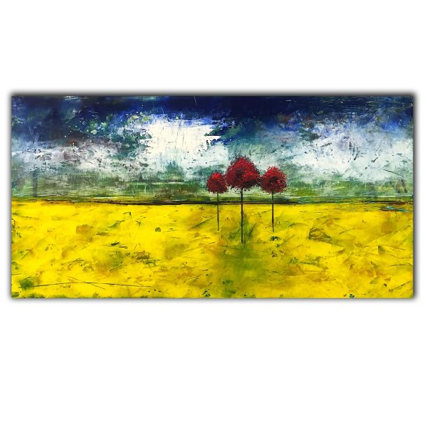 Brighter Days - abstract landscape oil painting with trees