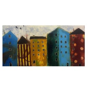 City Dwelling Portugal buildings oil painting