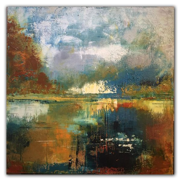 Abstract landscape oil and cold wax painting