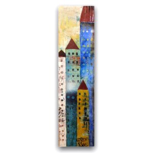Home Bound modern art oil painting with buildings