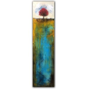 Long narrow abstract landscape blue oil painting with red tree
