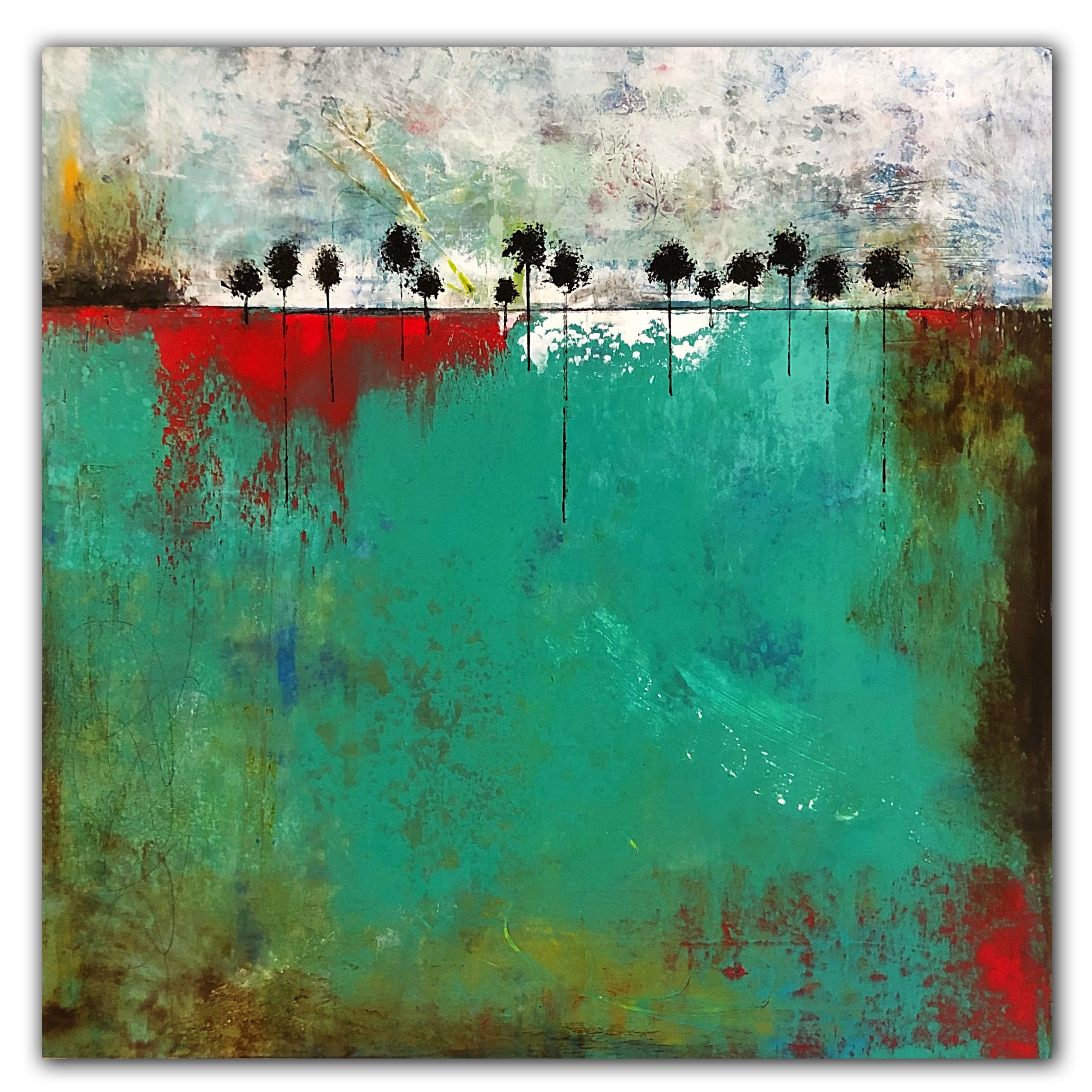 Turquoise and green landscape abstract oil and cold wax painting